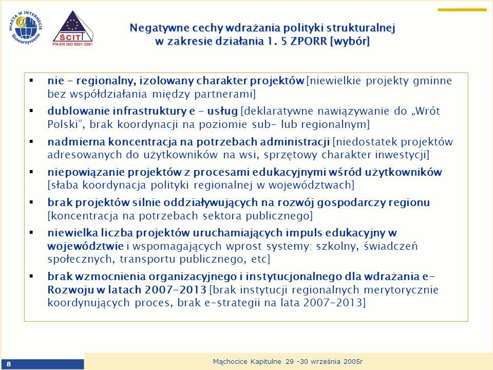 8 Mąchocice Kapitulne 29 -30 września 2005r Negatywne cechy wdrażania polityki strukturalnej w zakresie działania 1. 5 ZPORR [wybór] nie – regionalny,