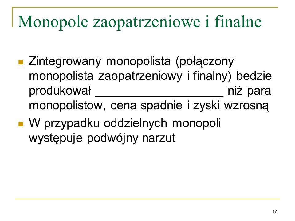10 Monopole zaopatrzeniowe i finalne Zintegrowany monopolista (połączony monopolista zaopatrzeniowy i finalny) bedzie produkował ___________________ n