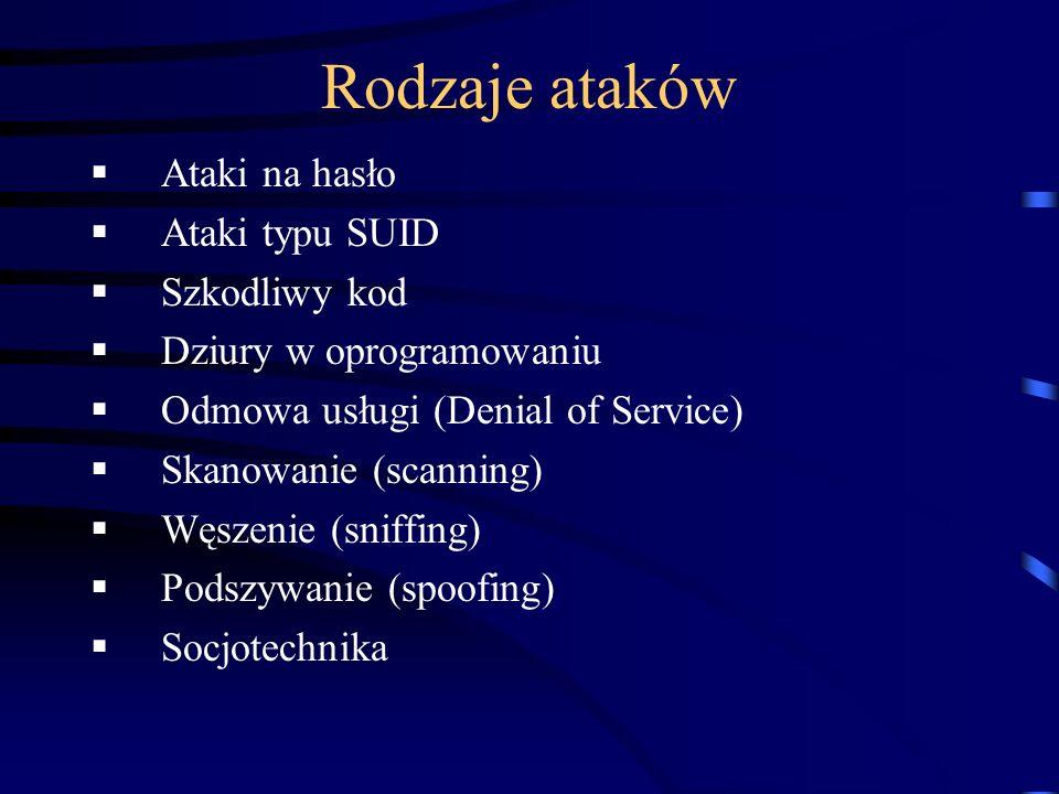 Rodzaje ataków Ataki na hasło Ataki typu SUID Szkodliwy kod Dziury w oprogramowaniu Odmowa usługi (Denial of Service) Skanowanie (scanning) Węszenie (