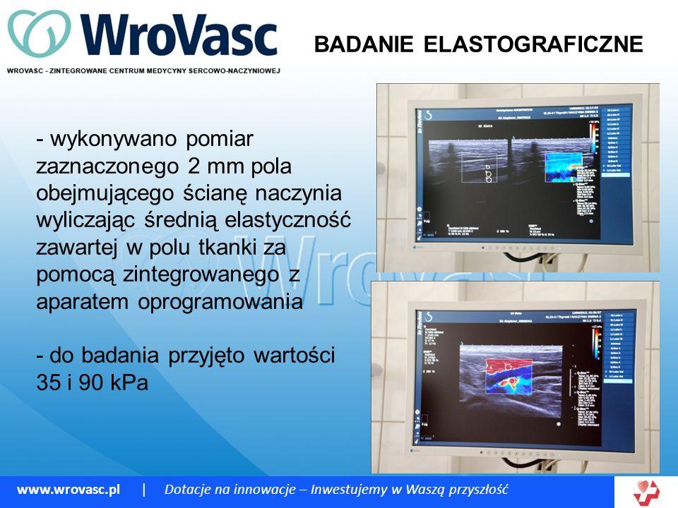 www.wrovasc.pl | Dotacje na innowacje – Inwestujemy w Waszą przyszłość BADANIE ELASTOGRAFICZNE - wykonywano pomiar zaznaczonego 2 mm pola obejmującego ścianę naczynia wyliczając średnią elastyczność zawartej w polu tkanki za pomocą zintegrowanego z aparatem oprogramowania - do badania przyjęto wartości 35 i 90 kPa