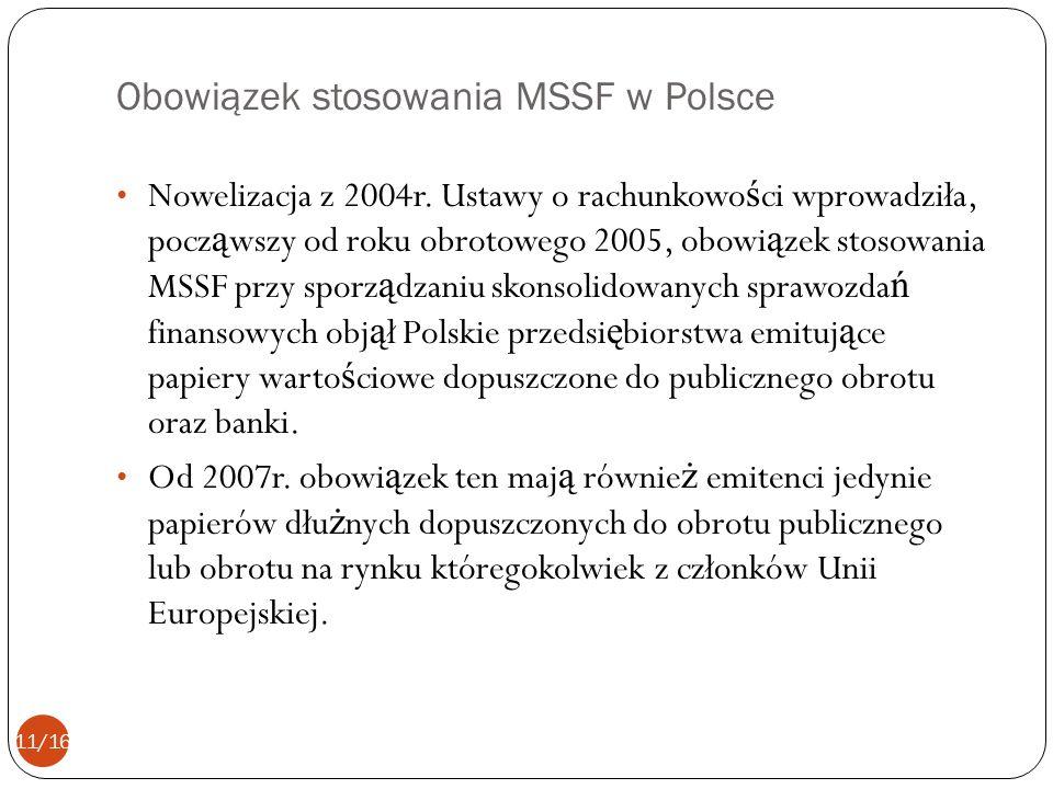 Obowiązek stosowania MSSF w Polsce Nowelizacja z 2004r. Ustawy o rachunkowo ś ci wprowadziła, pocz ą wszy od roku obrotowego 2005, obowi ą zek stosowa