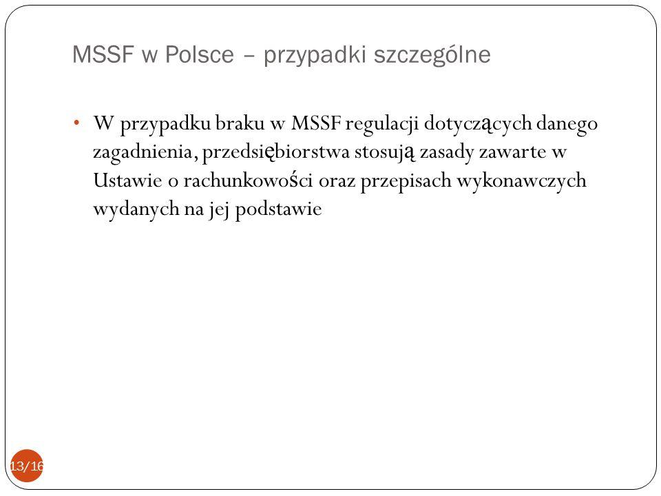 MSSF w Polsce – przypadki szczególne W przypadku braku w MSSF regulacji dotycz ą cych danego zagadnienia, przedsi ę biorstwa stosuj ą zasady zawarte w