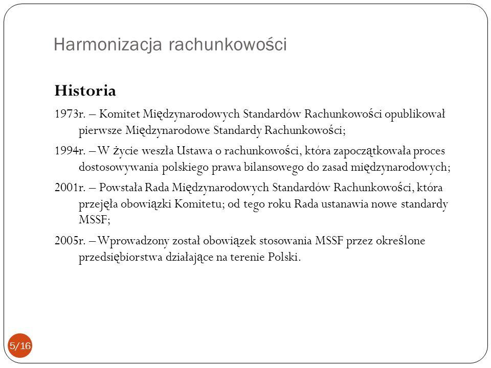Harmonizacja rachunkowości Historia 1973r. – Komitet Mi ę dzynarodowych Standardów Rachunkowo ś ci opublikował pierwsze Mi ę dzynarodowe Standardy Rac