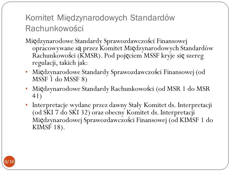 Komitet Międzynarodowych Standardów Rachunkowości Mi ę dzynarodowe Standardy Sprawozdawczo ś ci Finansowej opracowywane s ą przez Komitet Mi ę dzynaro