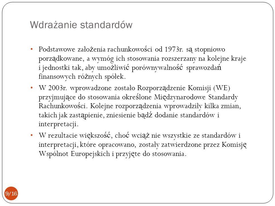 Wdrażanie standardów Podstawowe zało ż enia rachunkowo ś ci od 1973r. s ą stopniowo porz ą dkowane, a wymóg ich stosowania rozszerzany na kolejne kraj