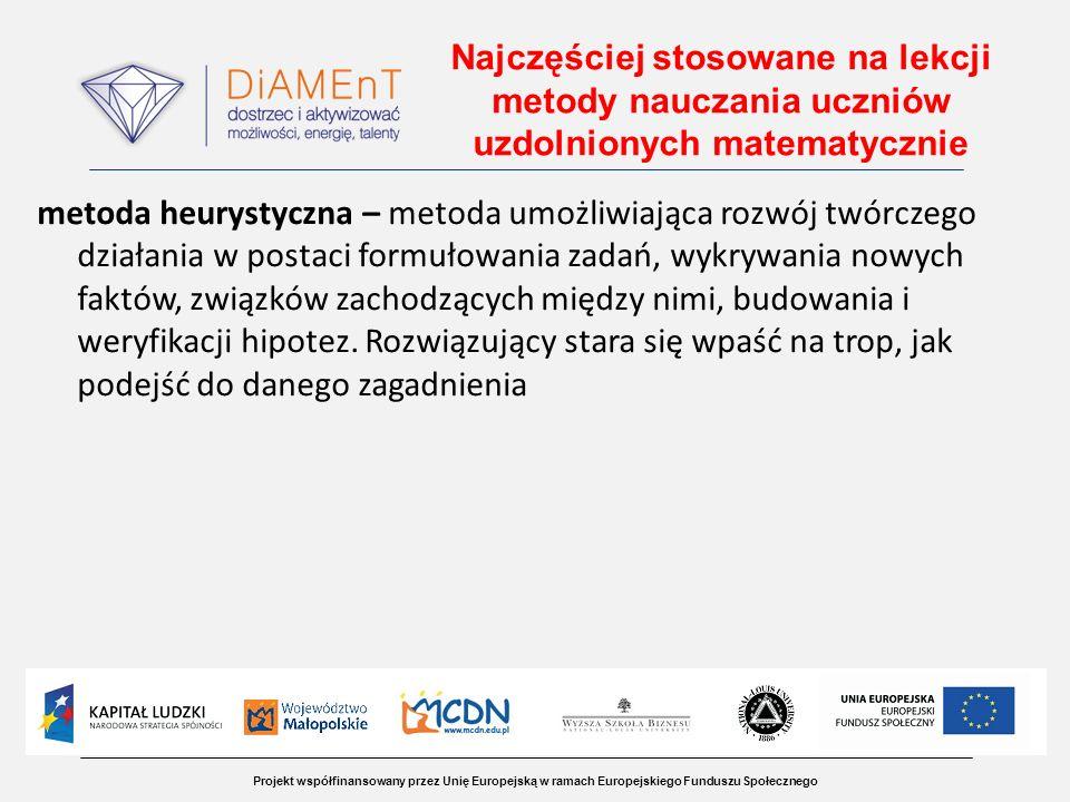 Projekt współfinansowany przez Unię Europejską w ramach Europejskiego Funduszu Społecznego Najczęściej stosowane na lekcji metody nauczania uczniów uz
