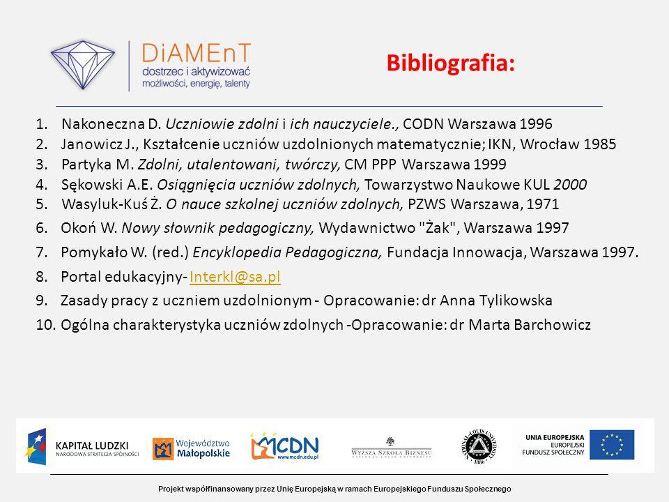 Projekt współfinansowany przez Unię Europejską w ramach Europejskiego Funduszu Społecznego Bibliografia: 1.Nakoneczna D. Uczniowie zdolni i ich nauczy