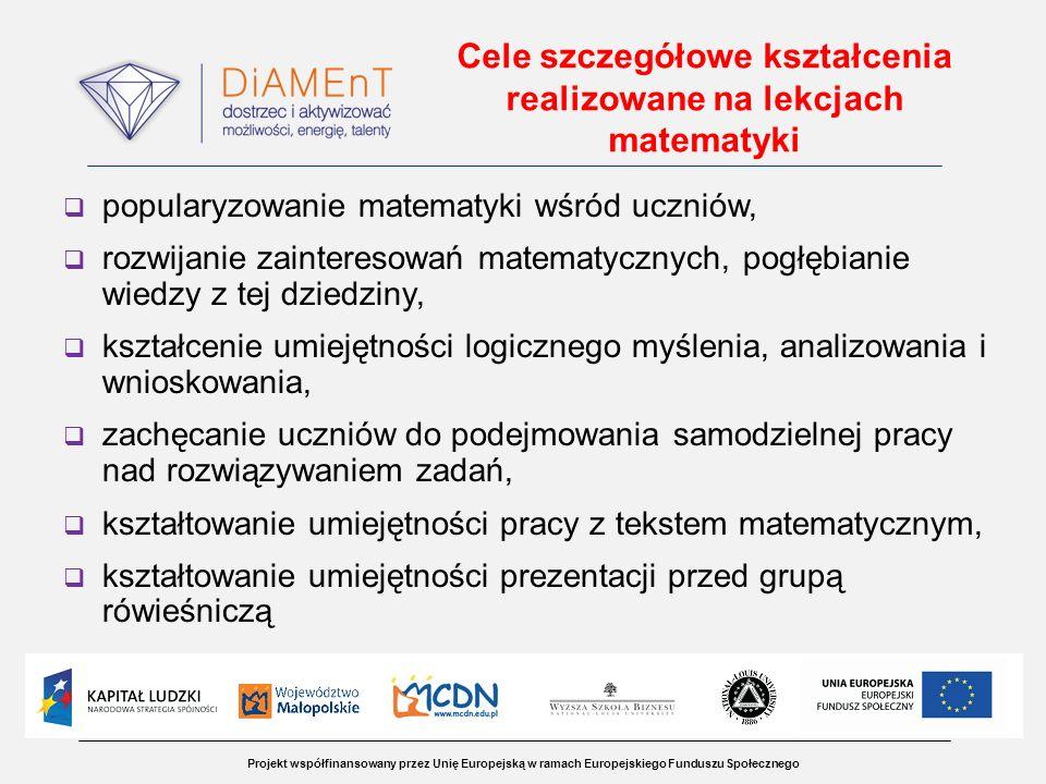 Projekt współfinansowany przez Unię Europejską w ramach Europejskiego Funduszu Społecznego Cele szczegółowe kształcenia realizowane na lekcjach matema