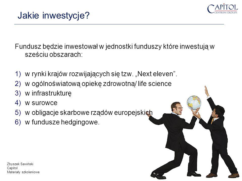 Jakie inwestycje? Fundusz będzie inwestował w jednostki funduszy które inwestują w sześciu obszarach: 1)w rynki krajów rozwijających się tzw. Next ele