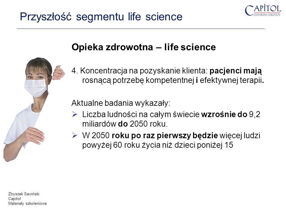 Opieka zdrowotna – life science 4. Koncentracja na pozyskanie klienta: pacjenci mają rosnącą potrzebę kompetentnej i efektywnej terapii. Aktualne bada