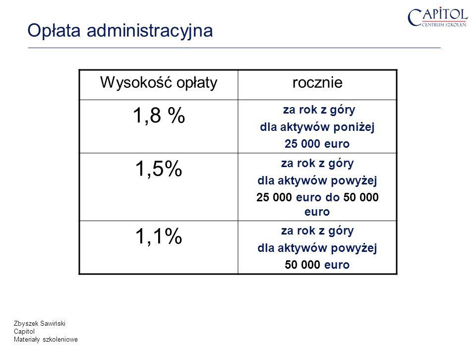 Opłata administracyjna Zbyszek Sawiński Capitol Materiały szkoleniowe Wysokość opłatyrocznie 1,8 % za rok z góry dla aktywów poniżej 25 000 euro 1,5%