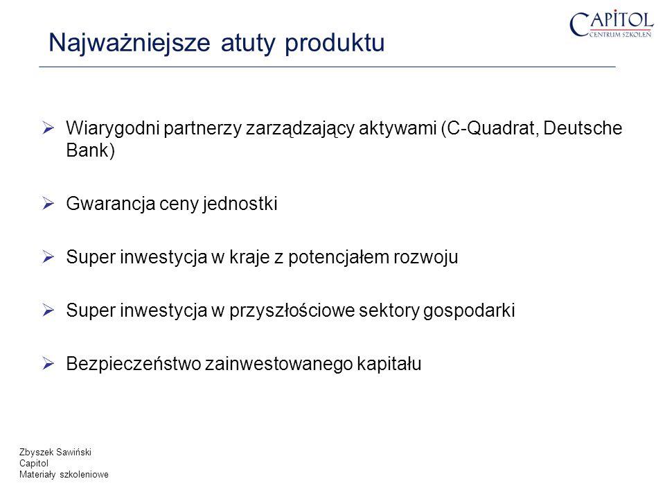 Najważniejsze atuty produktu Wiarygodni partnerzy zarządzający aktywami (C-Quadrat, Deutsche Bank) Gwarancja ceny jednostki Super inwestycja w kraje z