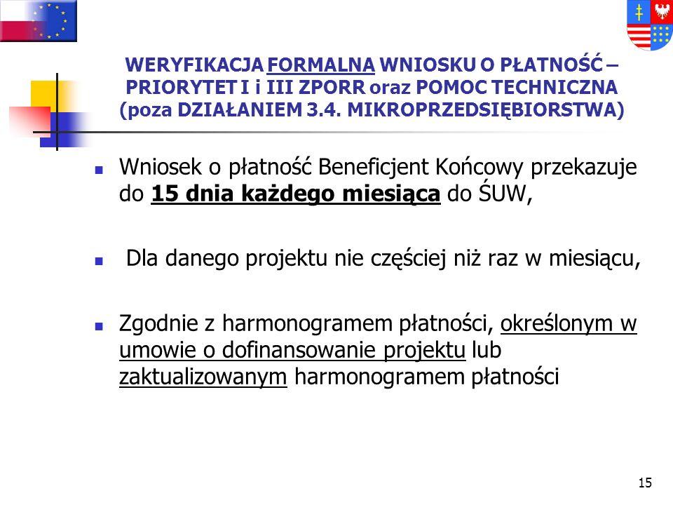 14 WNIOSEK O REFUNDACJĘ – KOLEJNE ETAPY Wniosek (forma papierowa i elektroniczna – konieczność zgodności obydwu form) wraz z załącznikami trafia do ŚU