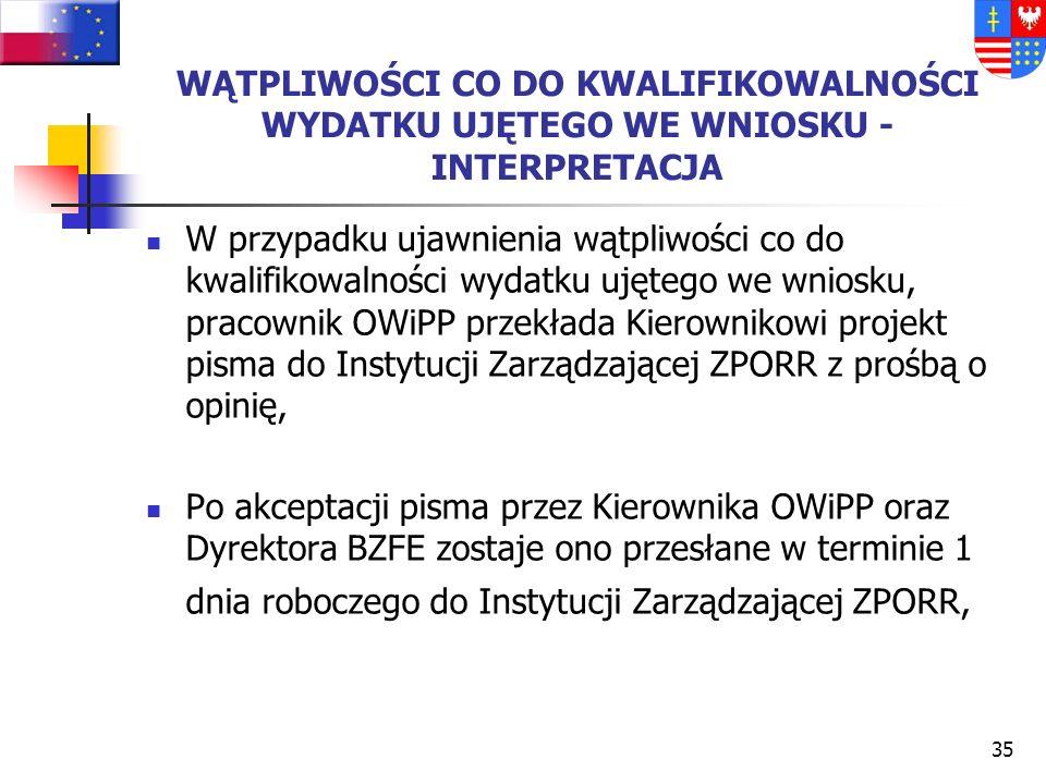 34 PROCEDURA WYJAŚNIAJĄCA: Pracownik OWiPP zwraca się na piśmie do Beneficjenta Końcowego/Instytucji Wdrażającej o wyjaśnienie stosownych kwestii/uzup