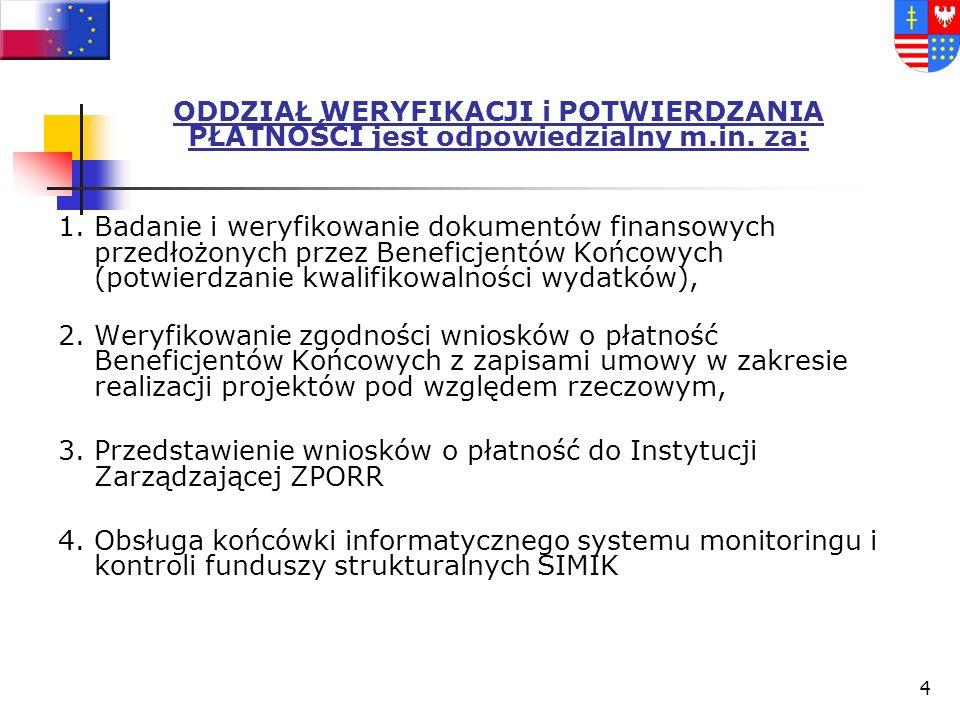 14 WNIOSEK O REFUNDACJĘ – KOLEJNE ETAPY Wniosek (forma papierowa i elektroniczna – konieczność zgodności obydwu form) wraz z załącznikami trafia do ŚUW, Dokumentacja zostaje przekazana do Sekretariatu Biura Zarządzania Funduszami Europejskimi (BZFE), Dyrektor BZFE (lub jego Zastępca) dekretuje korespondencję na Kierownika Oddziału Weryfikacji i Potwierdzania Płatności (OWiPP), odpowiedzialnego za weryfikację formalną i merytoryczną, Rozpoczęcie weryfikacji formalnej i merytorycznej.