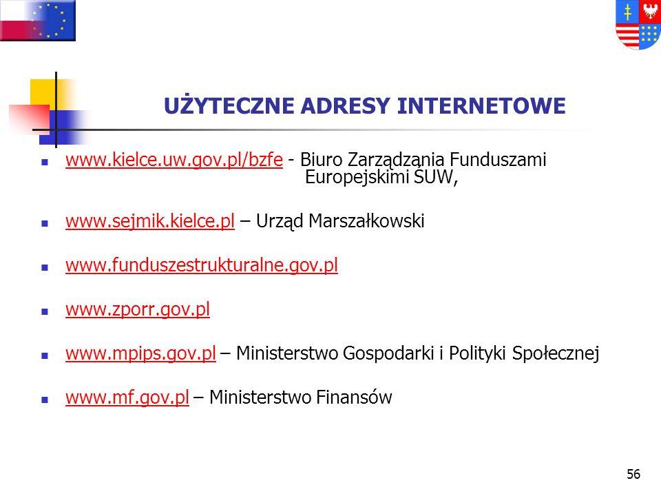 55 WAŻNE DOKUMENTY: Kwalifikowalność wydatków w ramach EFRR www.kwalifikowalnosc.gov.pl www.sejmik.kielce.pl/zporr Procedura przyznawania środków z re