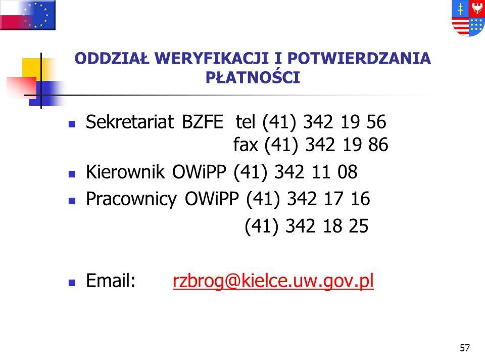 56 UŻYTECZNE ADRESY INTERNETOWE www.kielce.uw.gov.pl/bzfe - Biuro Zarządzania Funduszami Europejskimi ŚUW, www.kielce.uw.gov.pl/bzfe www.sejmik.kielce