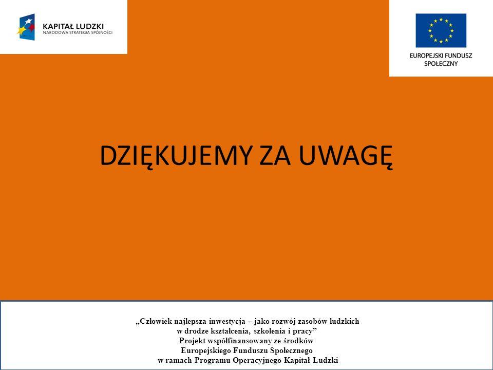 DZIĘKUJEMY ZA UWAGĘ Człowiek najlepsza inwestycja – jako rozwój zasobów ludzkich w drodze kształcenia, szkolenia i pracy Projekt współfinansowany ze ś