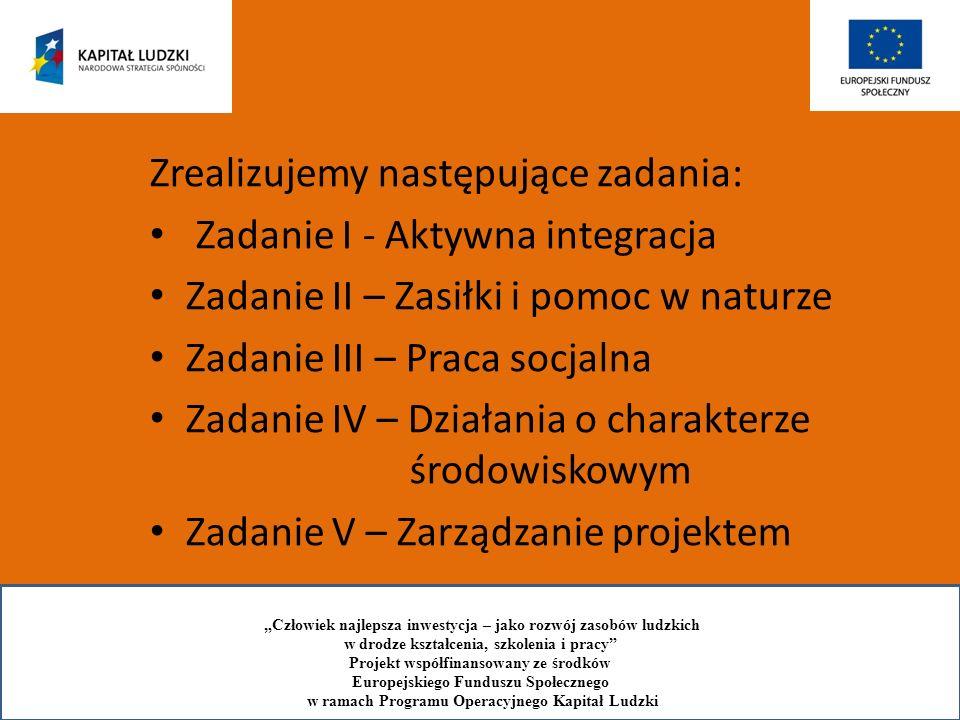 W ramach zadania I - aktywna integracja-przeprowadzimy następujące działania: Rekrutacja beneficjentów Podpisanie kontraktów socjalnych (29) Podpisanie umów w ramach PAL (8) Aktywizacja edukacyjna poprzez skierowanie beneficjentów na: Uzupełnienie wykształcenia (1) kursy zawodowe (12) spotkania z psychologiem, socjoterapeutą, doradcą zawodowym, specjalistą ds.