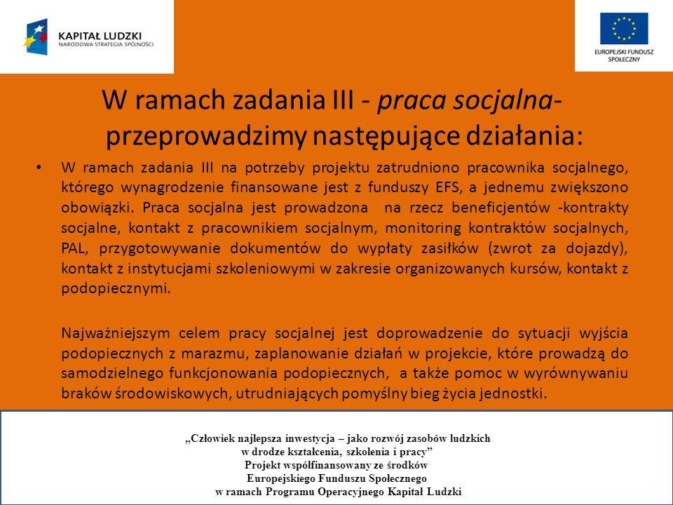 W ramach zadania III - praca socjalna- przeprowadzimy następujące działania: W ramach zadania III na potrzeby projektu zatrudniono pracownika socjalne