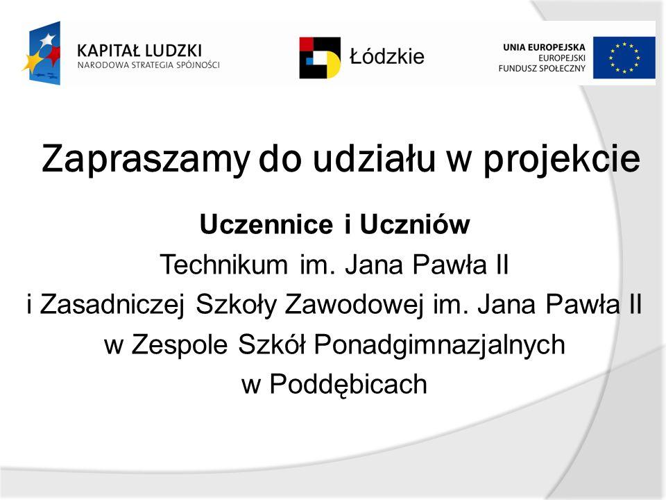 Zapraszamy do udziału w projekcie Uczennice i Uczniów Technikum im.