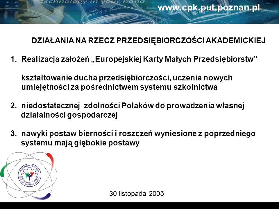 30 listopada 2005 www.cpk.put.poznan.pl DZIAŁANIA NA RZECZ PRZEDSIĘBIORCZOŚCI AKADEMICKIEJ 1.