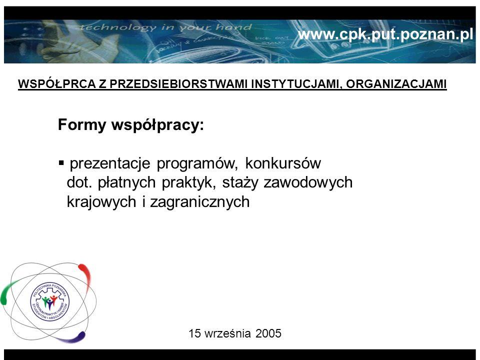 15 września 2005 WSPÓŁPRCA Z PRZEDSIEBIORSTWAMI INSTYTUCJAMI, ORGANIZACJAMI Formy współpracy: prezentacje programów, konkursów dot.