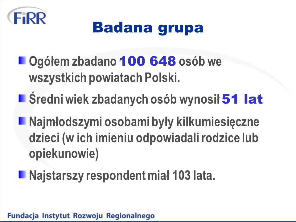 Badana grupa Ogółem zbadano 100 648 osób we wszystkich powiatach Polski. Średni wiek zbadanych osób wynosił 51 lat Najmłodszymi osobami były kilkumies