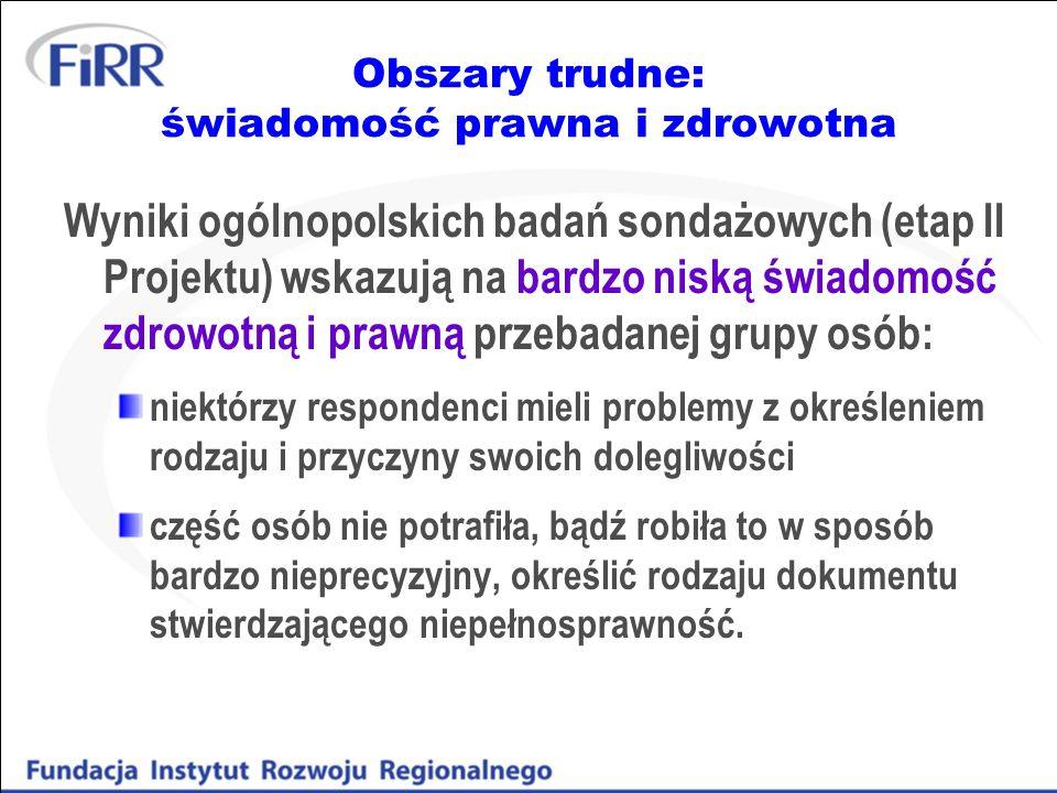 Obszary trudne: świadomość prawna i zdrowotna Wyniki ogólnopolskich badań sondażowych (etap II Projektu) wskazują na bardzo niską świadomość zdrowotną