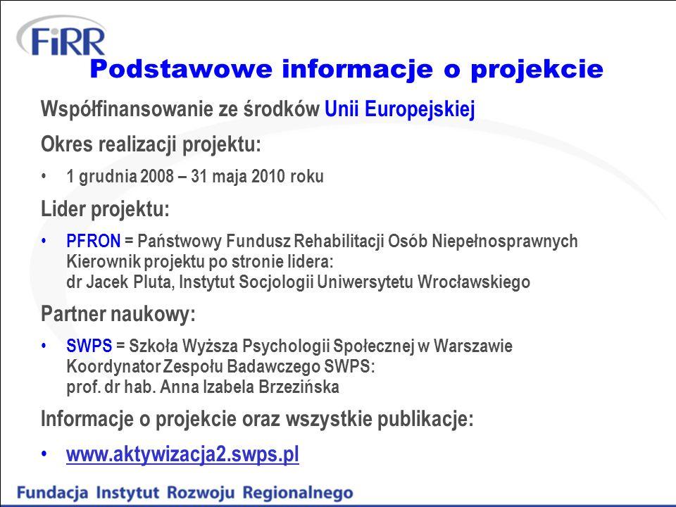 Podstawowe informacje o projekcie Współfinansowanie ze środków Unii Europejskiej Okres realizacji projektu: 1 grudnia 2008 – 31 maja 2010 roku Lider p