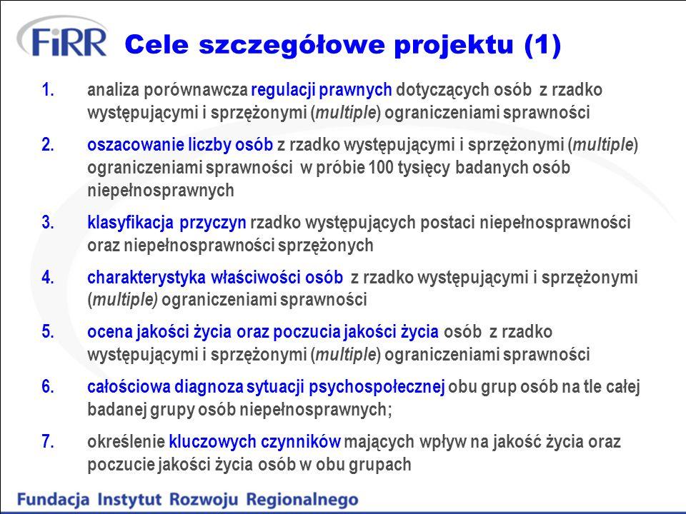 Cele szczegółowe projektu (1) 1.analiza porównawcza regulacji prawnych dotyczących osób z rzadko występującymi i sprzężonymi ( multiple ) ograniczenia