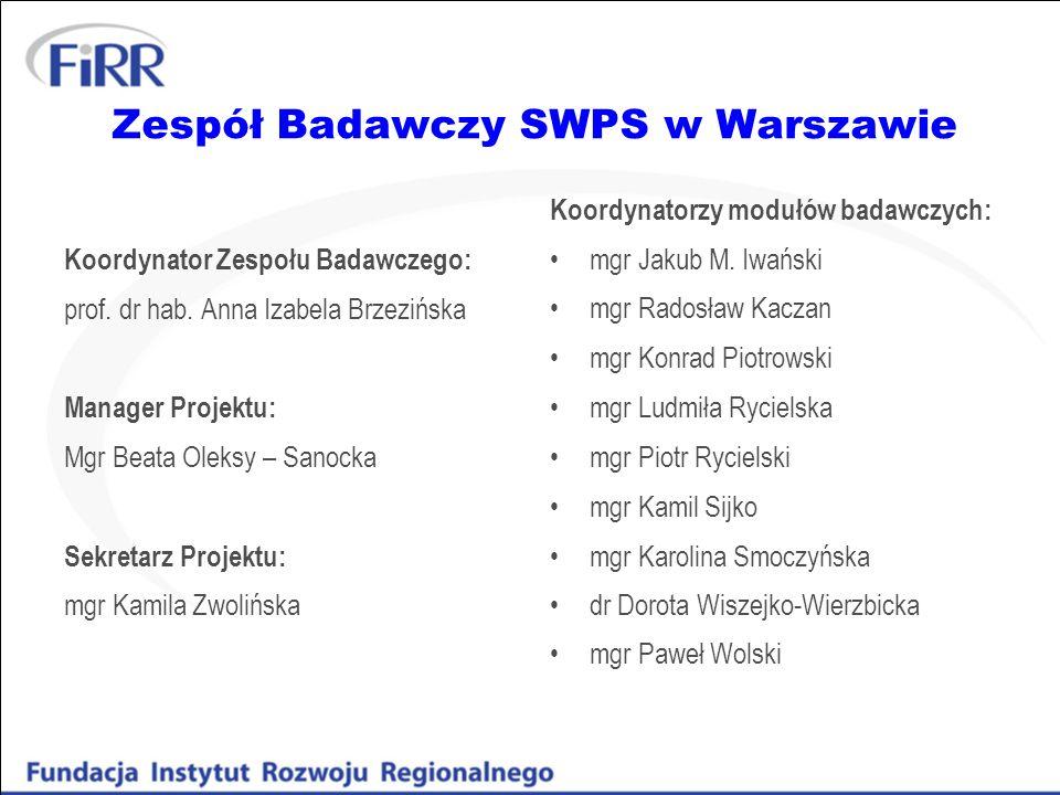 Zespół Badawczy SWPS w Warszawie Koordynator Zespołu Badawczego: prof. dr hab. Anna Izabela Brzezińska Manager Projektu: Mgr Beata Oleksy – Sanocka Se