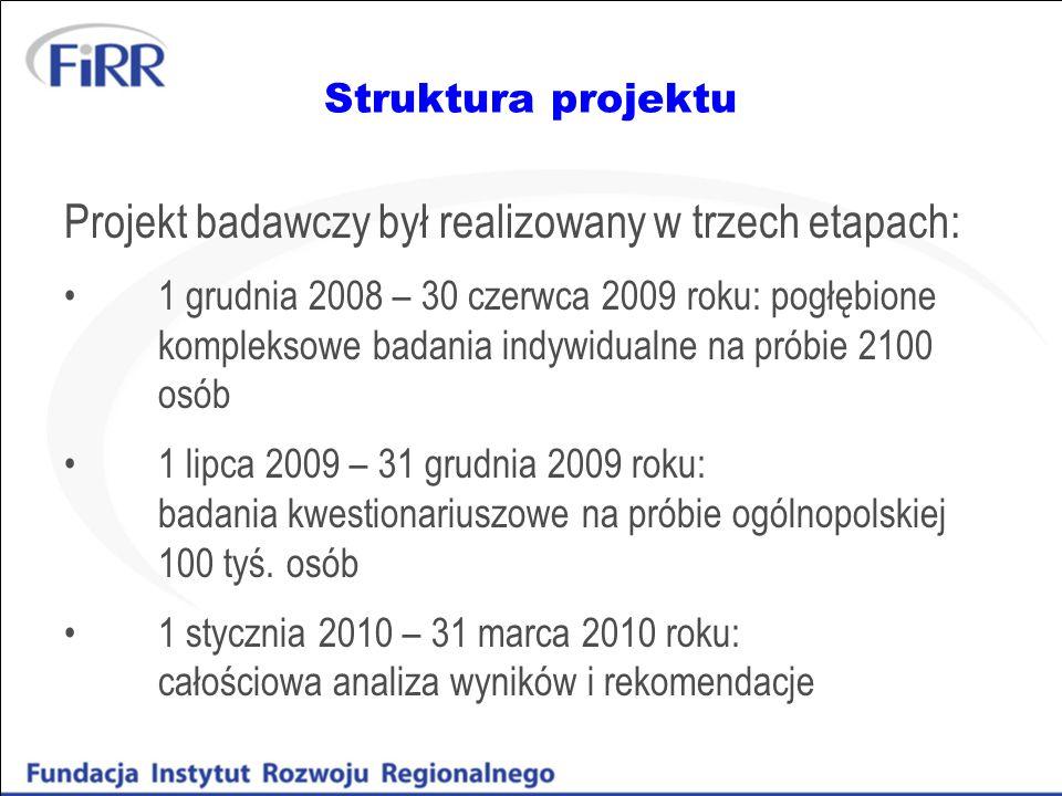 Struktura projektu Projekt badawczy był realizowany w trzech etapach: 1 grudnia 2008 – 30 czerwca 2009 roku: pogłębione kompleksowe badania indywidual