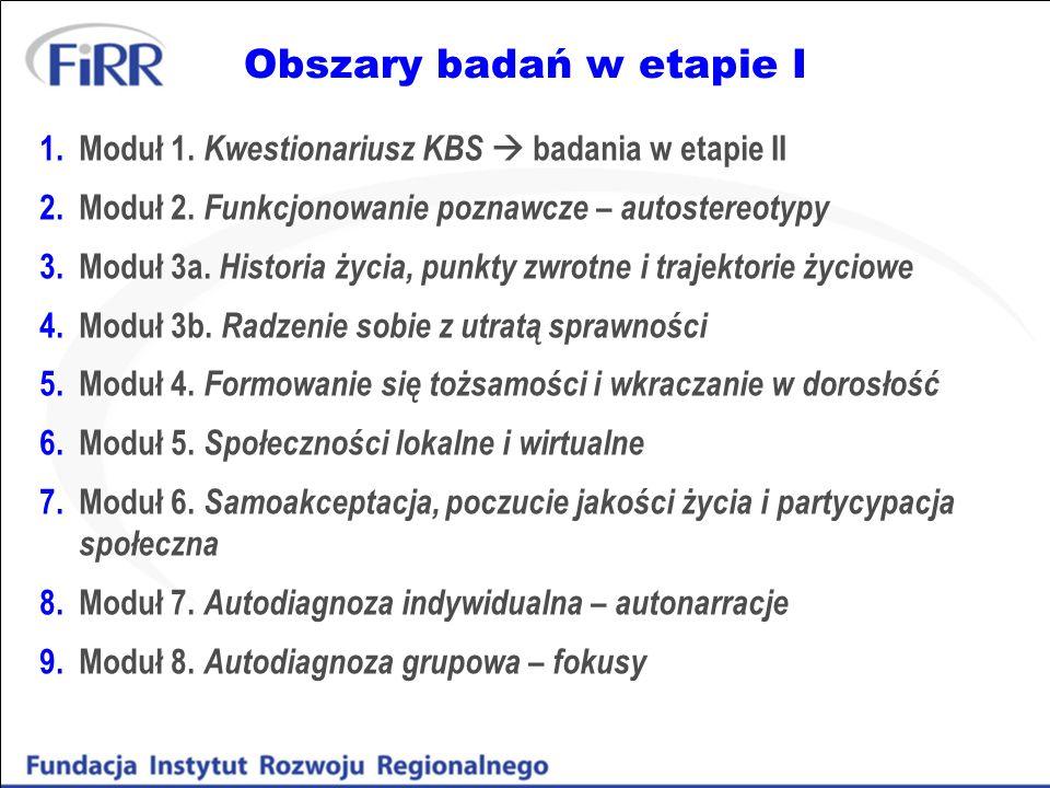Obszary badań w etapie I 1.Moduł 1. Kwestionariusz KBS badania w etapie II 2.Moduł 2. Funkcjonowanie poznawcze – autostereotypy 3.Moduł 3a. Historia ż