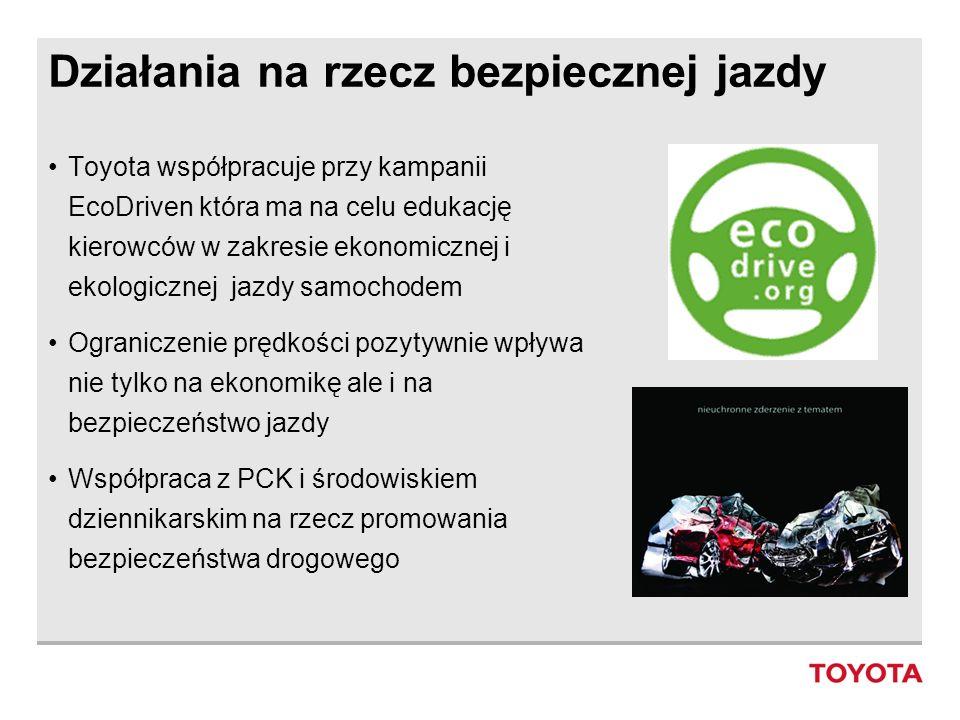 Działania na rzecz bezpiecznej jazdy Toyota współpracuje przy kampanii EcoDriven która ma na celu edukację kierowców w zakresie ekonomicznej i ekologi