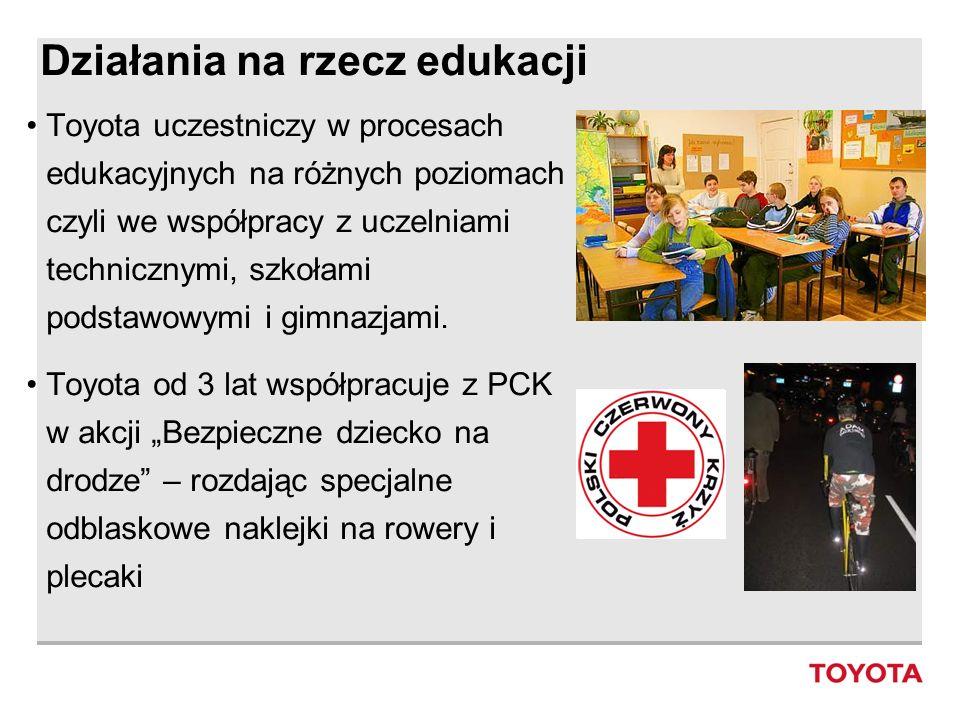 Działania na rzecz edukacji Toyota uczestniczy w procesach edukacyjnych na różnych poziomach czyli we współpracy z uczelniami technicznymi, szkołami p