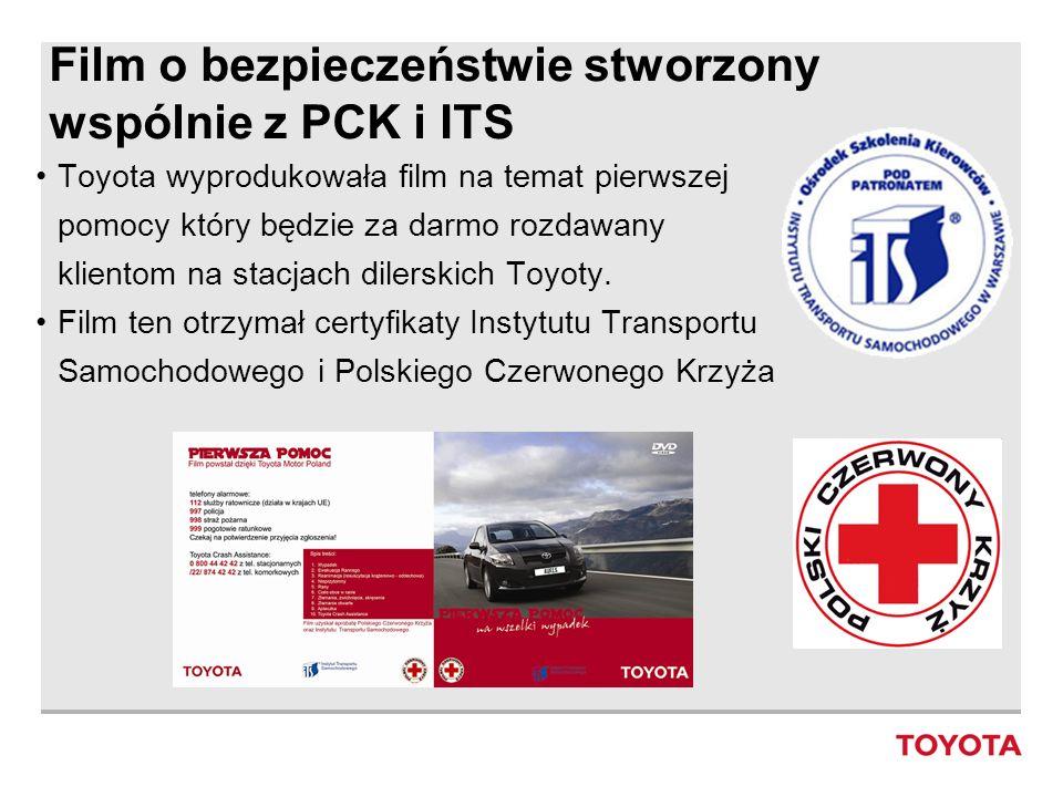 Film o bezpieczeństwie stworzony wspólnie z PCK i ITS Toyota wyprodukowała film na temat pierwszej pomocy który będzie za darmo rozdawany klientom na