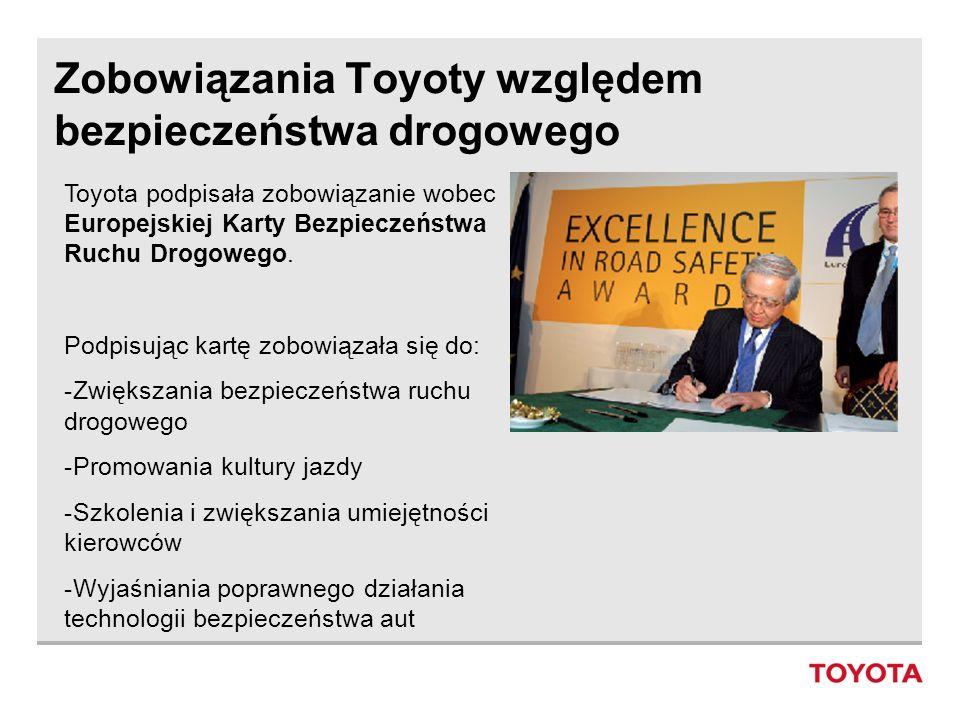 Zobowiązania Toyoty względem bezpieczeństwa drogowego Toyota podpisała zobowiązanie wobec Europejskiej Karty Bezpieczeństwa Ruchu Drogowego. Podpisują
