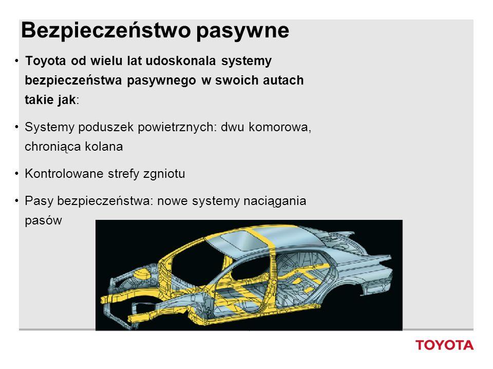 Bezpieczeństwo pasywne Toyota od wielu lat udoskonala systemy bezpieczeństwa pasywnego w swoich autach takie jak: Systemy poduszek powietrznych: dwu k