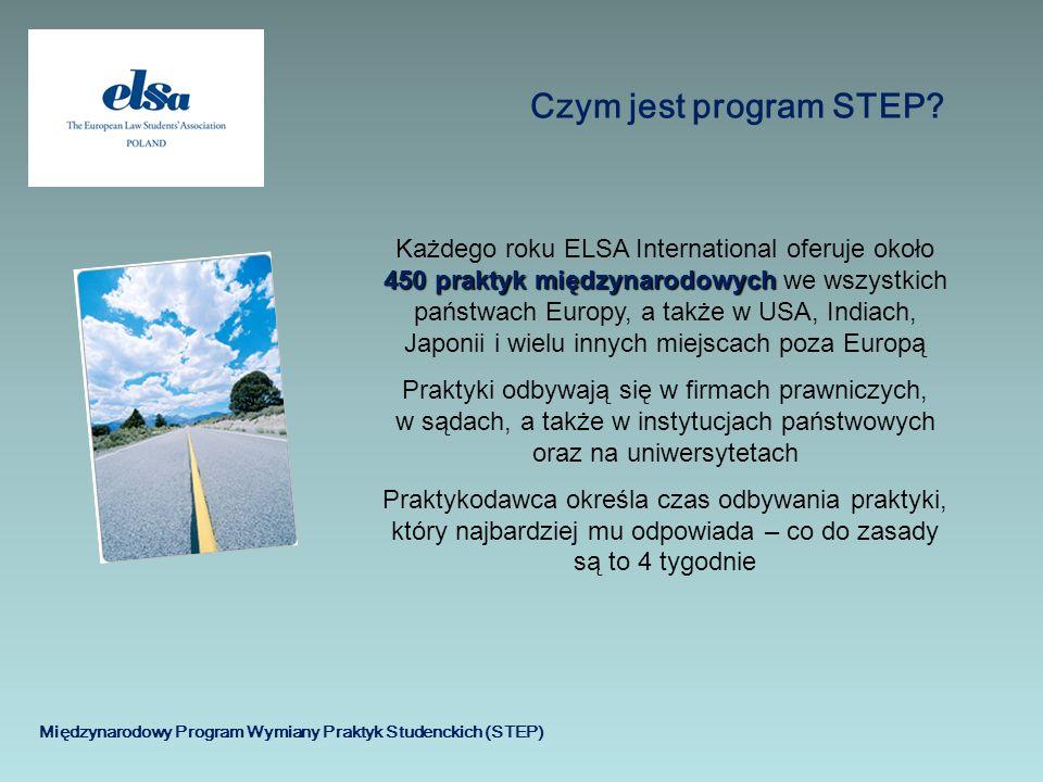 Międzynarodowy Program Wymiany Praktyk Studenckich (STEP) Czym jest program STEP? 450 praktyk międzynarodowych Każdego roku ELSA International oferuje