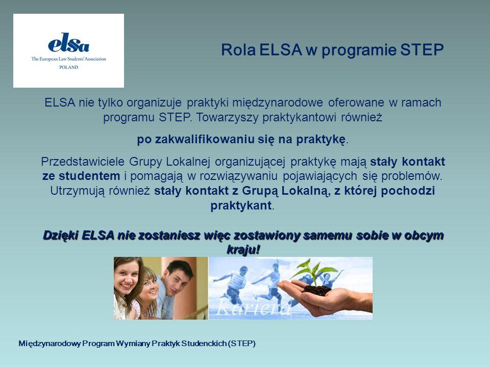 Międzynarodowy Program Wymiany Praktyk Studenckich (STEP) Rola ELSA w programie STEP ELSA nie tylko organizuje praktyki międzynarodowe oferowane w ram