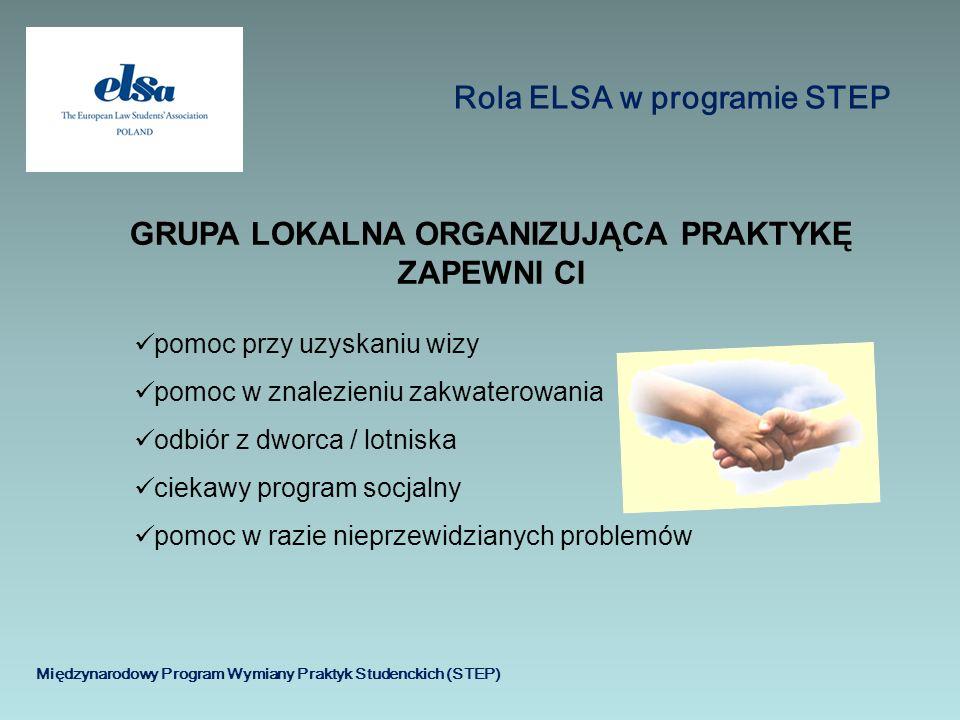 Międzynarodowy Program Wymiany Praktyk Studenckich (STEP) Rola ELSA w programie STEP pomoc przy uzyskaniu wizy pomoc w znalezieniu zakwaterowania odbi