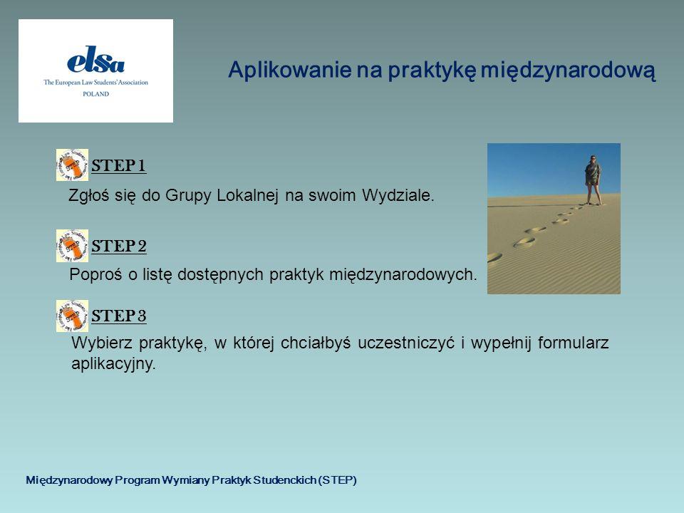 Międzynarodowy Program Wymiany Praktyk Studenckich (STEP) Aplikowanie na praktykę międzynarodową STEP 1STEP 2 Zgłoś się do Grupy Lokalnej na swoim Wyd