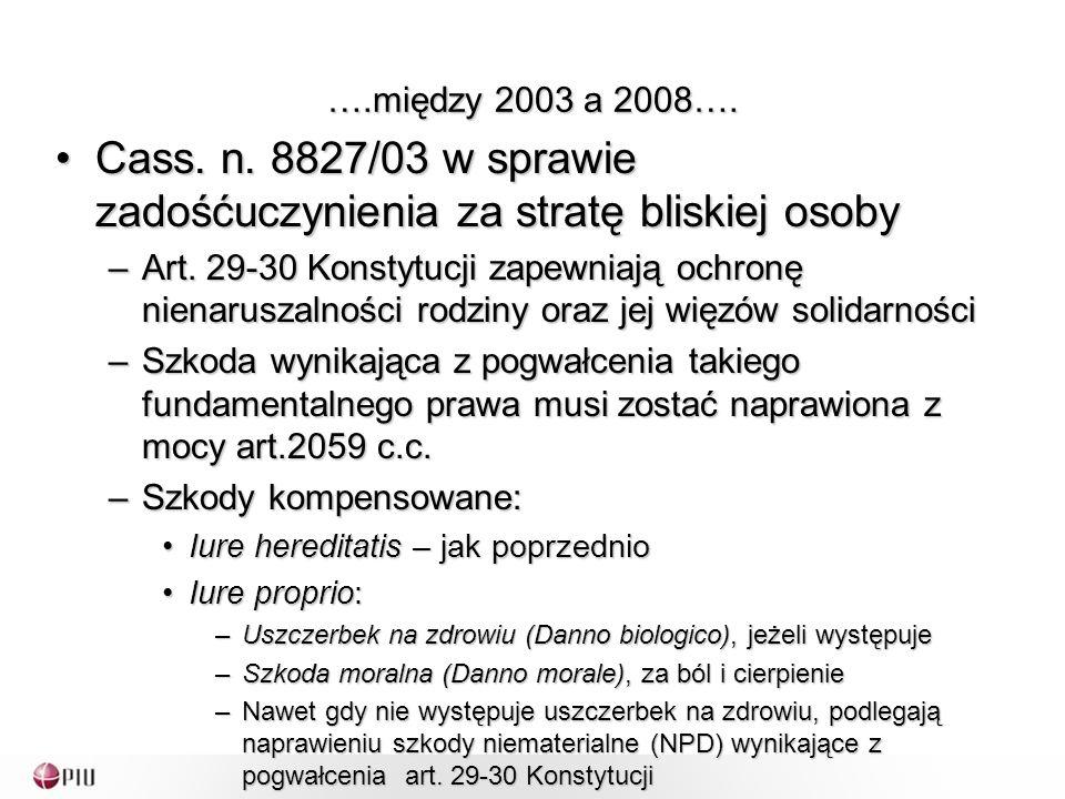 ….między 2003 a 2008…. Cass. n. 8827/03 w sprawie zadośćuczynienia za stratę bliskiej osobyCass.