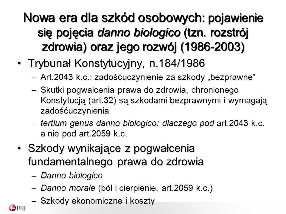 Podobny przykład: Sąd Rzymski, 25 stycznia 2009 Śmierć 55-letniej kobiety w wypadku samochodowymŚmierć 55-letniej kobiety w wypadku samochodowym – 121,500.00 dla syna zamieszkującego wspólnie ze zmarłą; 97,200.00 dla syna nie zamieszkującego wspólnie; 42,490.00 dla brata; 85,050.00 dla matki Kryteria uwzględniane przy wycenie:Kryteria uwzględniane przy wycenie: –Brak szczególnych rozdźwięków (waśni) pomiędzy członkami rodziny: założenie silnych więzów uczuciowych –Zadośćuczynienie dla syna nie zamieszkującego wspólnie: -20% sumy przyznanej dla syna zamieszkującego wspólnie –Zadośćuczynienie dla matki-brata: -30% sumy przyznanej dla zamieszkującego wspólnie syna