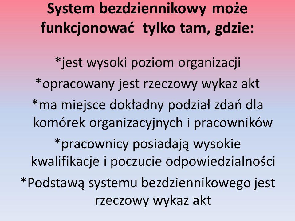 System bezdziennikowy może funkcjonować tylko tam, gdzie: *jest wysoki poziom organizacji *opracowany jest rzeczowy wykaz akt *ma miejsce dokładny pod