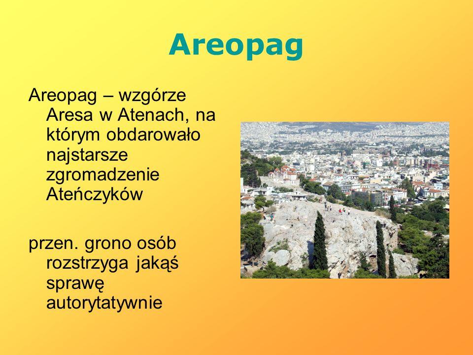 Areopag Areopag – wzgórze Aresa w Atenach, na którym obdarowało najstarsze zgromadzenie Ateńczyków przen. grono osób rozstrzyga jakąś sprawę autorytat