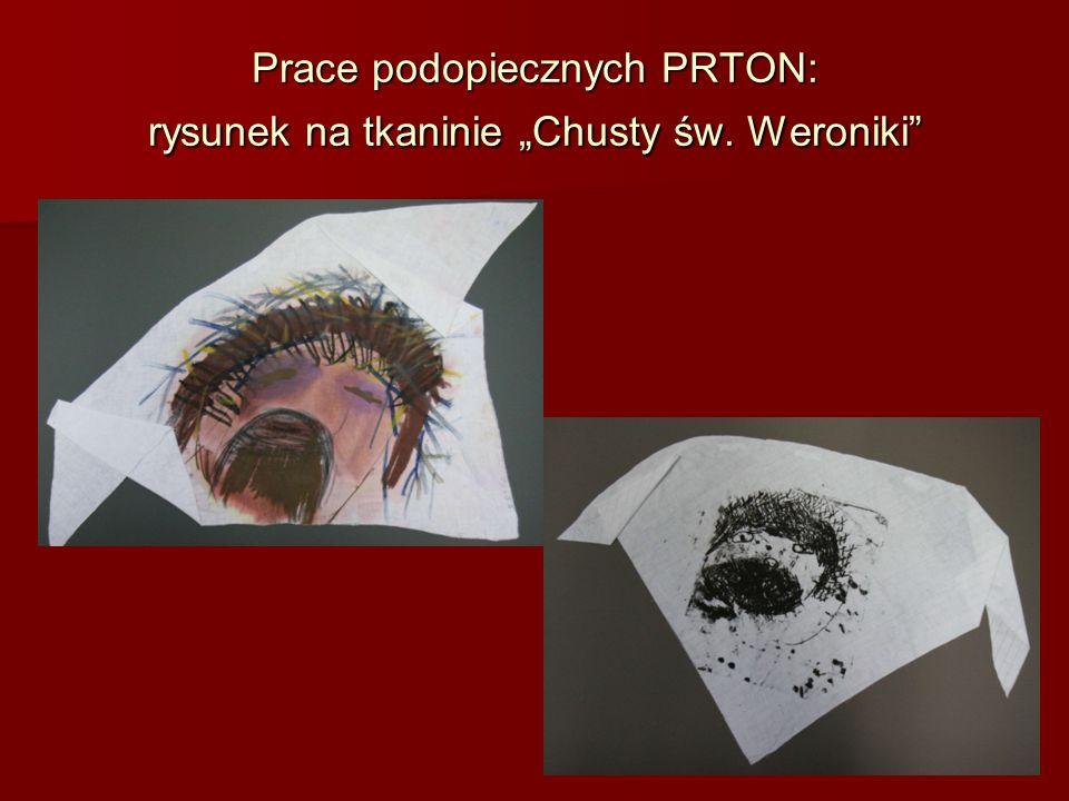 Prace podopiecznych PRTON: rysunek na tkaninie Chusty św. Weroniki