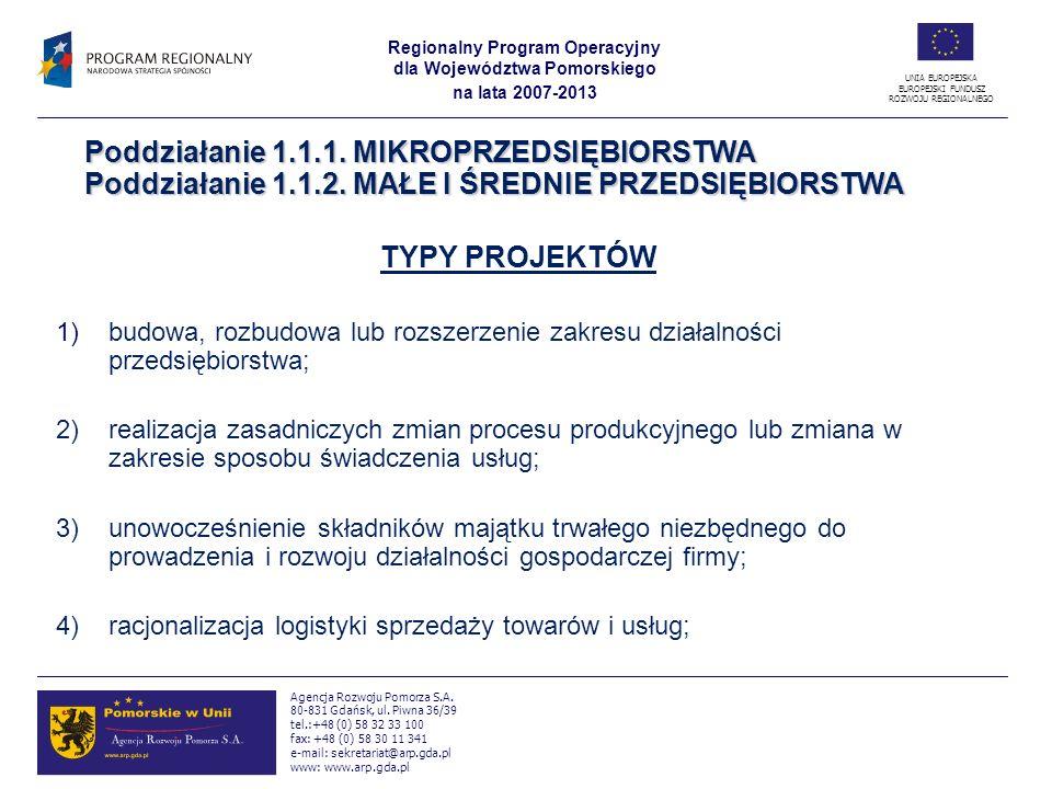 Regionalny Program Operacyjny dla Województwa Pomorskiego na lata 2007-2013 UNIA EUROPEJSKA EUROPEJSKI FUNDUSZ ROZWOJU REGIONALNEGO Agencja Rozwoju Po