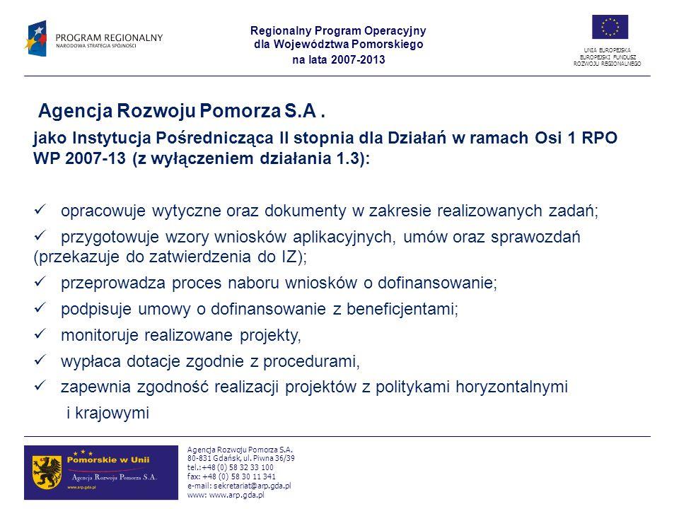 Regionalny Program Operacyjny dla Województwa Pomorskiego na lata 2007-2013 UNIA EUROPEJSKA EUROPEJSKI FUNDUSZ ROZWOJU REGIONALNEGO Agencja Rozwoju Pomorza S.A.